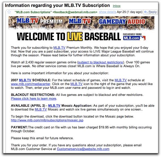 MLB TV subscription blunders - Matt Thommes
